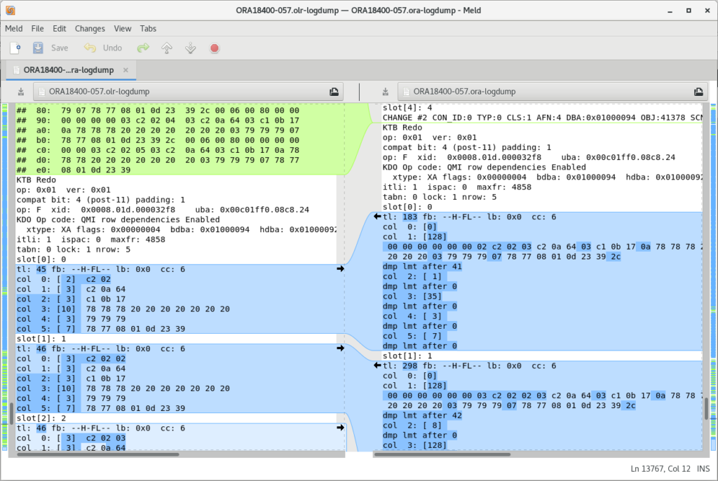 output screen showing errors in output of logdump command and the correct interpretation produced by OpenLogReplicator